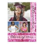 Pink Glitter-Look 3 Photo Graduation 13 Cm X 18 Cm Invitation Card