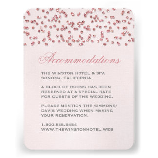 Pink Glitter Look Confetti Wedding Insert Card