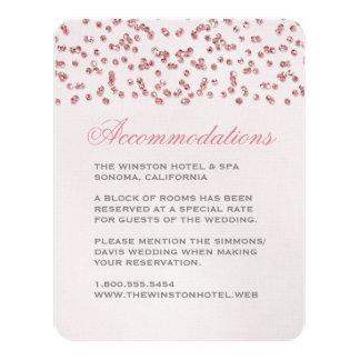 Pink Glitter Look Confetti Wedding Insert Card 11 Cm X 14 Cm Invitation Card
