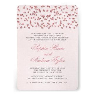 Pink Glitter Look Confetti Wedding Invitation