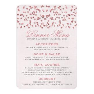 Pink Glitter Look Confetti Wedding Menu 13 Cm X 18 Cm Invitation Card