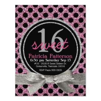 Pink  Glitter Look Polka Dot Sweet 16 Card