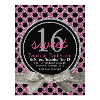 Pink Glitter Look Polka Dot Sweet 16 Announcement