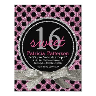 """Pink  Glitter Look Polka Dot Sweet 16 4.25"""" X 5.5"""" Invitation Card"""