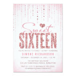 Pink Glitter Look Sweet 16 (Sixteen) Party 13 Cm X 18 Cm Invitation Card