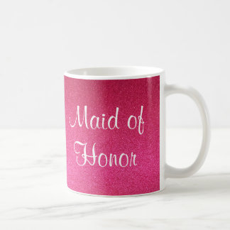 Pink Glitter Maid of Honor Mug