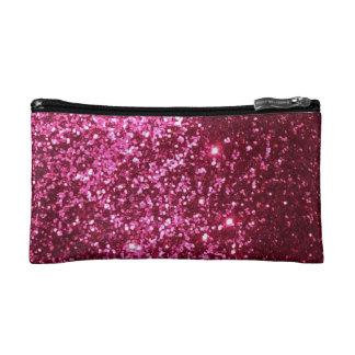Pink glitter makeup bag