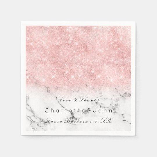Pink Glitter Marble White Glitter Bridal Girly Disposable