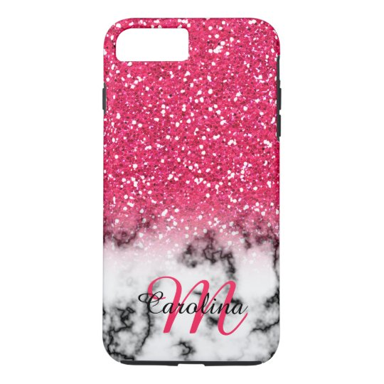 Pink Glitter, Marble with Name and Monogram iPhone