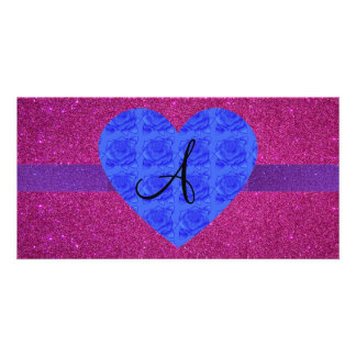 Pink glitter monogram blue roses picture card
