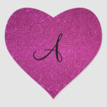 Pink glitter monogram heart sticker