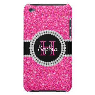 Pink Glitter Monogrammed 4G iPod Touch Case