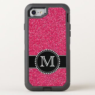 Pink Glitter Monogrammed Otterbox OtterBox Defender iPhone 8/7 Case