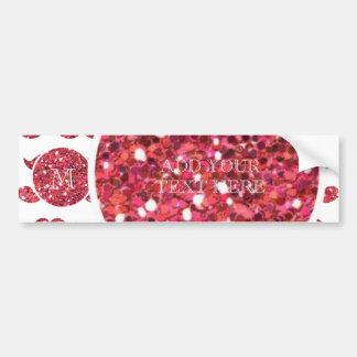 Pink Glitter Mustache Pattern Your Monogram Bumper Sticker