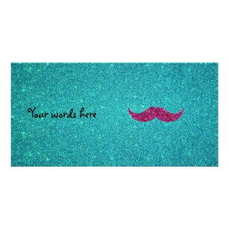 Pink glitter mustache photo greeting card