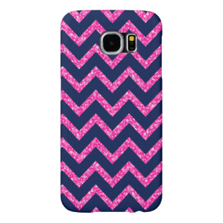 Pink Glitter & Navy Blue Chevron Zigzag Pattern Samsung Galaxy S6 Cases