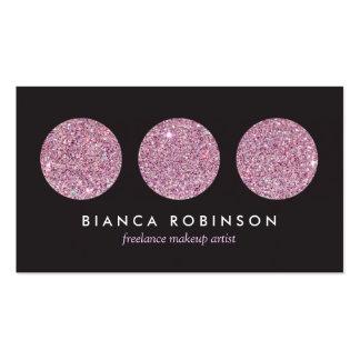 Pink Glitter Palette for Freelance Makeup Artist Business Card Template