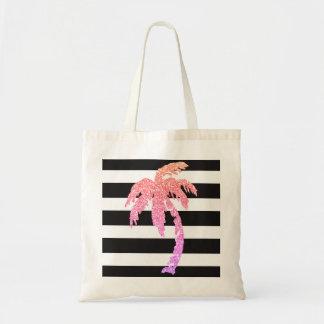 Pink Glitter Palm Tree Black White Stripe Tote Bag