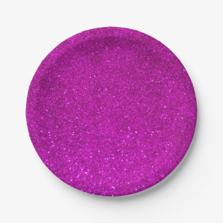 Pink glitter paper plates | faux sparkly print