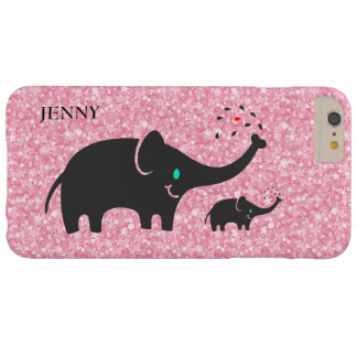 Pink Glitter Pattern Black Elephants Barely There iPhone 6 Plus Case
