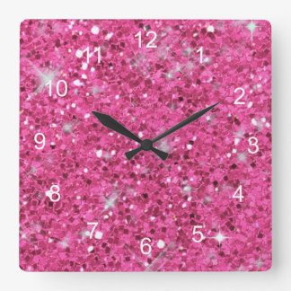 Pink Glitter Pattern Clocks