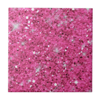 Pink Glitter Pattern ID144 Small Square Tile