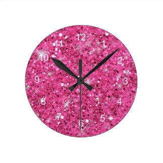 Pink Glitter Pattern Wallclocks