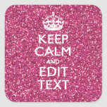 Pink Glitter Personalised KEEP CALM AND Your Text