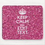 Pink Glitter Personalised KEEP CALM AND Your Text Mouse Pad