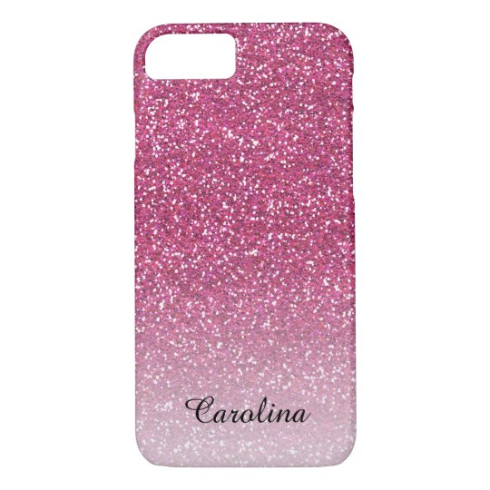 Pink Glitter, Personalised Mobile iPhone 8/7 Case