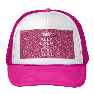 Pink Glitter Personalized KEEP CALM AND Your Text Mesh Hats