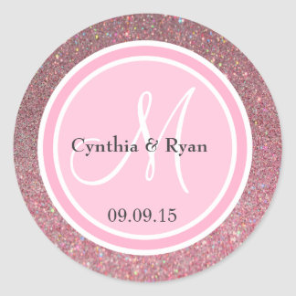 Pink Glitter & Pink Wedding Monogram Round Sticker
