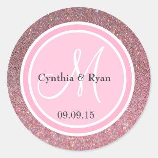 Pink Glitter & Pink Wedding Monogram Round Sticker