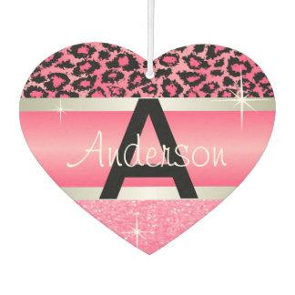 Pink Glitter Print & Leopard Animal   Personalize