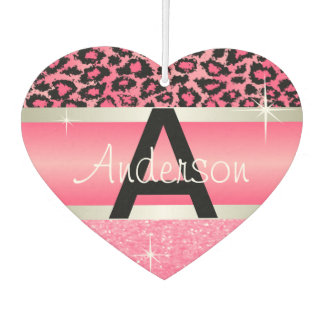 Pink Glitter Print & Leopard Animal | Personalize Car Air Freshener