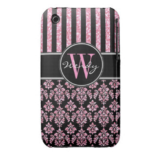 Pink Glitter Printed Black Damask Your Name iPhone 3 Covers