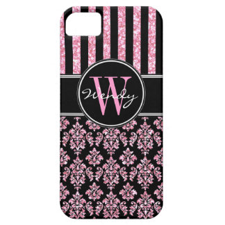 Pink Glitter Printed Black Damask Your Name iPhone 5 Covers