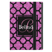 Pink glitter quatrefoil pattern name and monogram