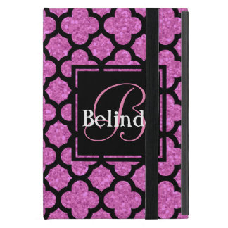 Pink glitter quatrefoil pattern name and monogram cover for iPad mini
