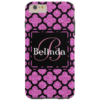 Pink glitter quatrefoil pattern name and monogram tough iPhone 6 plus case