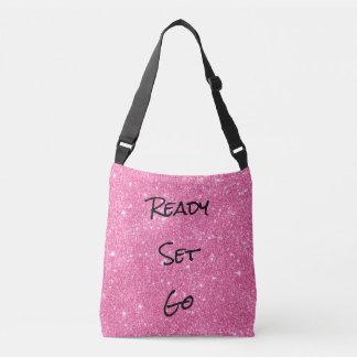 Pink Glitter Ready Set Go Cross Body Tote Tote Bag