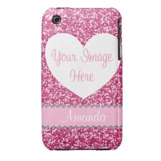 Pink Glitter Rhinestone Heart Photo iPhone Case Case-Mate iPhone 3 Cases