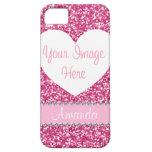 Pink Glitter Rhinestone Heart Photo iPhone Case iPhone 5 Cases