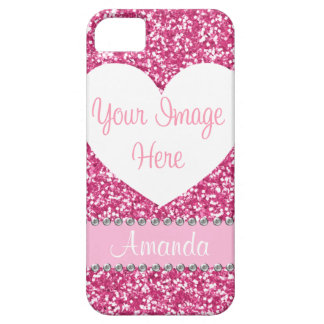 Pink Glitter Rhinestone Heart Photo iPhone Case