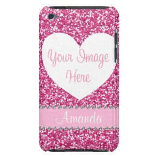Pink Glitter Rhinestone Heart Photo iPod Case