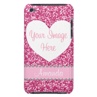 Pink Glitter Rhinestone Heart Photo iPod Case iPod Touch Case