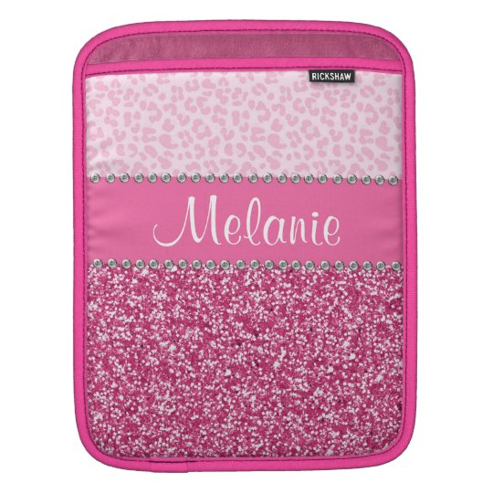 Pink Glitter Rhinestone Leopard BLING Case iPad