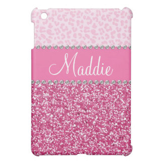 Pink Glitter Rhinestone Leopard BLING Case iPad iPad Mini Covers