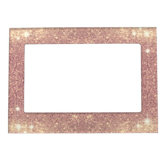 Pink Glitter Rose Gold Sparkle Faux Magnetic Picture Frame | Zazzle ...