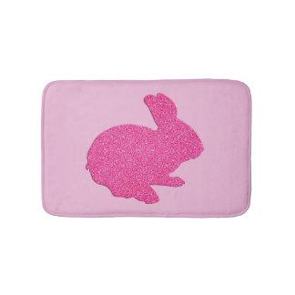 Pink Glitter Silhouette Bunny Rabbit Bath Mat Bath Mats